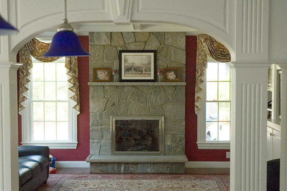 family room with fieldstone fireplace