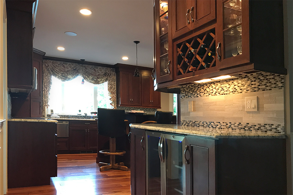 kitchen bar and wine rack