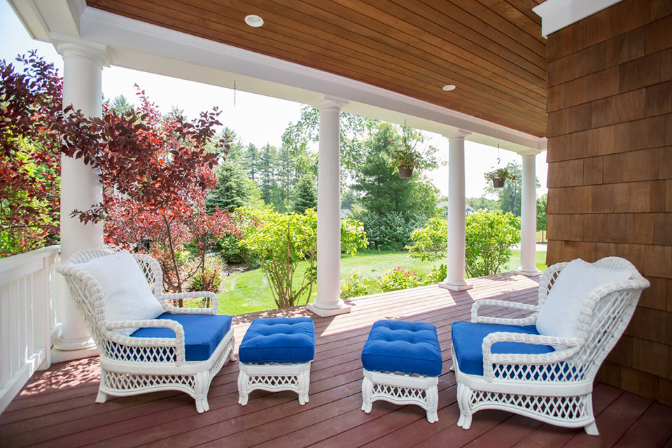 sunny porch with patio furniture